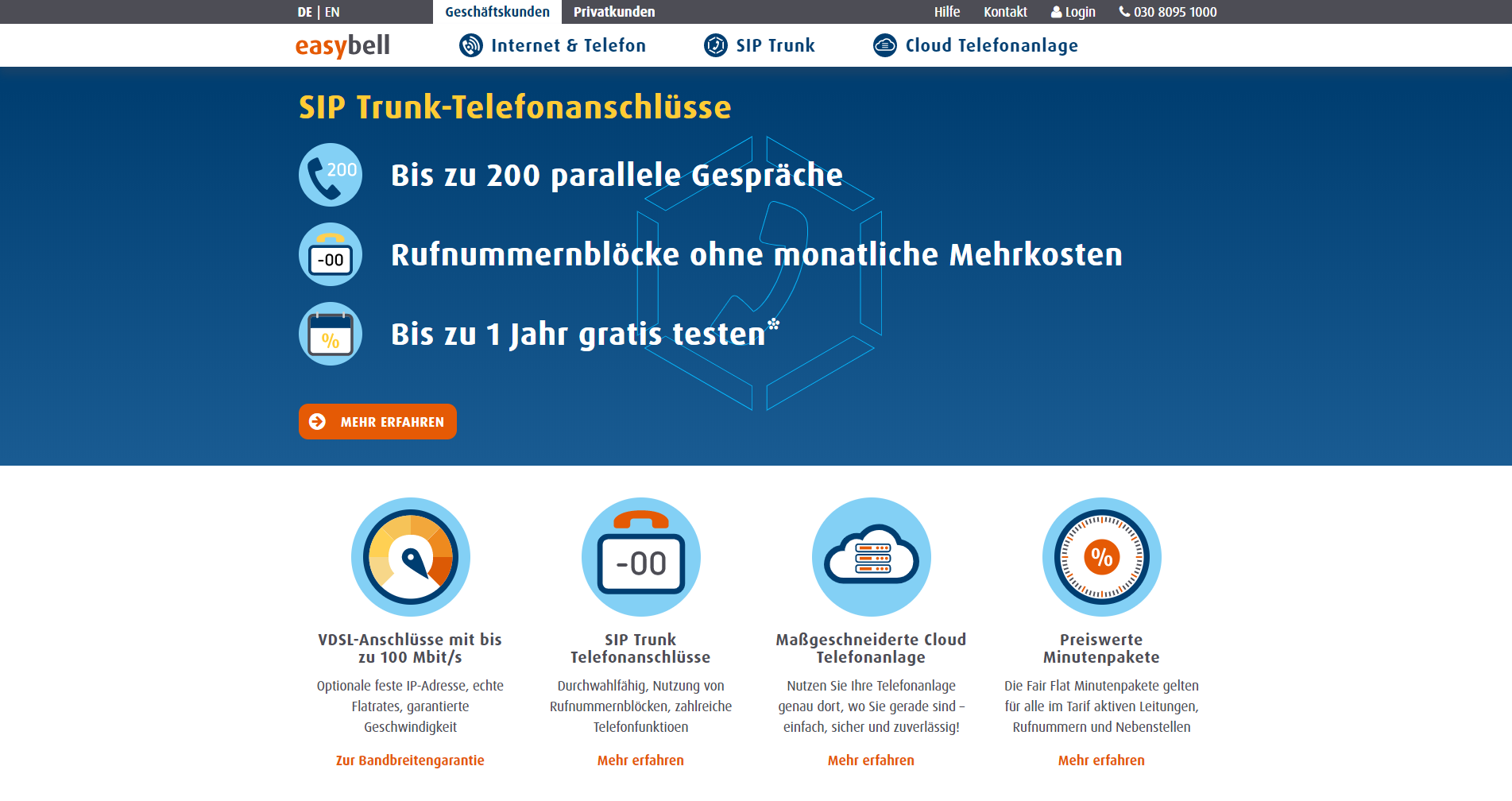 Easybell Webseite