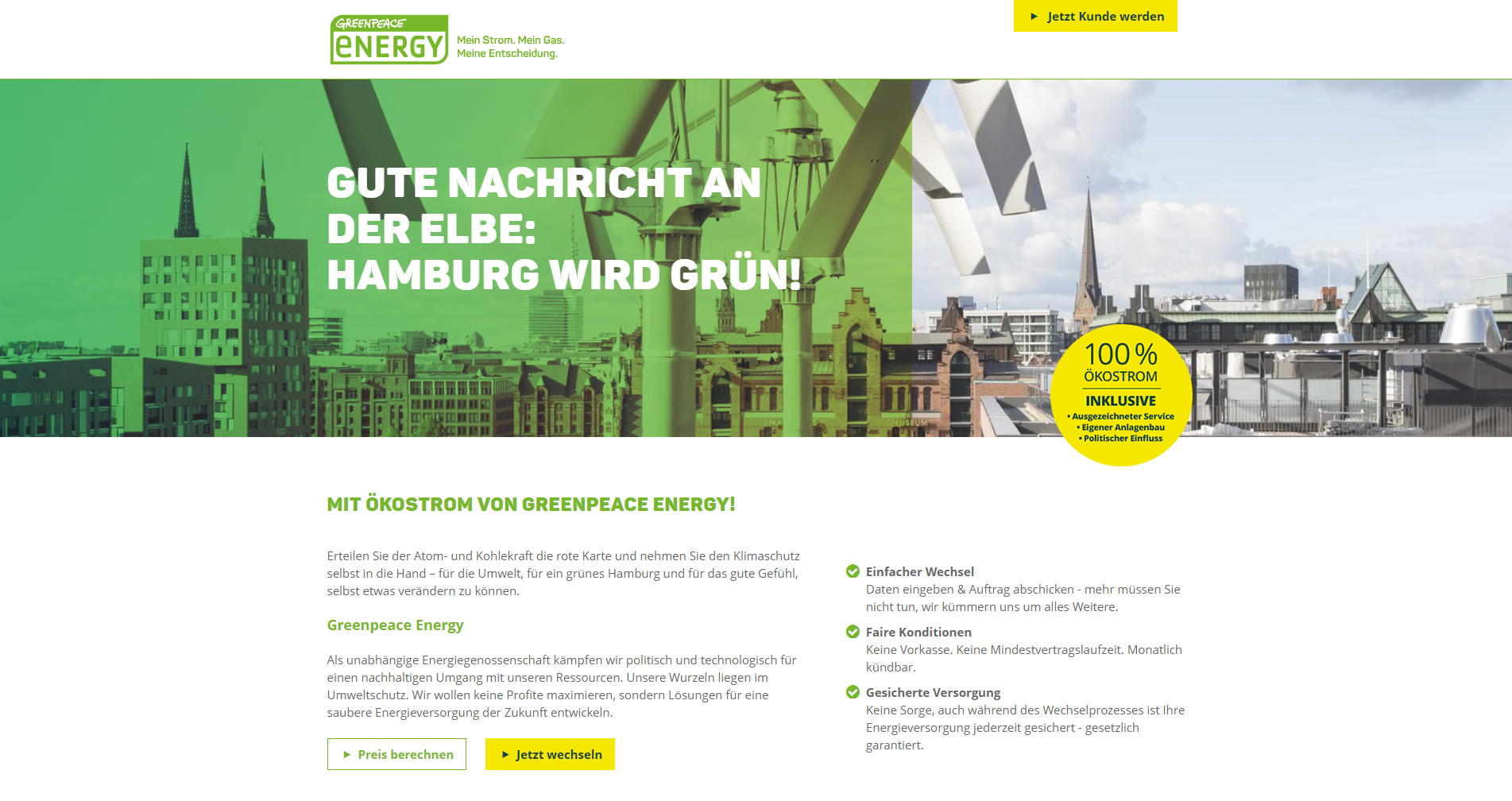 Greenpeace Energy Webseite